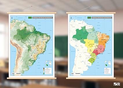 Brazilie staatkundige en natuurkundige kaart