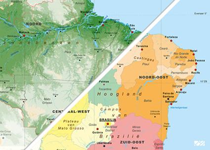 kaart Brazilië staatkundig