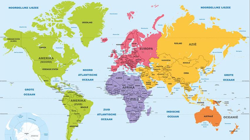 Continentkaart Wereld