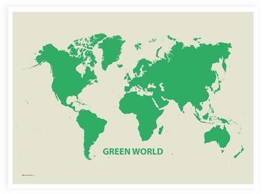 Duurzaam uitziende wereldkaart: Green World