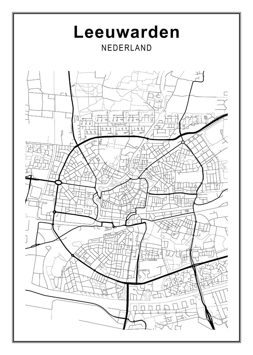 Decoratieve kaart Leeuwarden