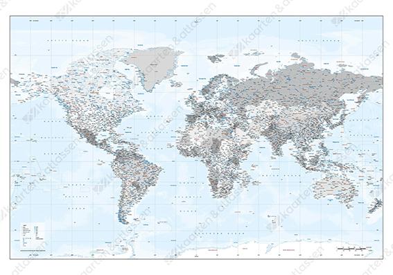 Wereldkaart zilvertinten