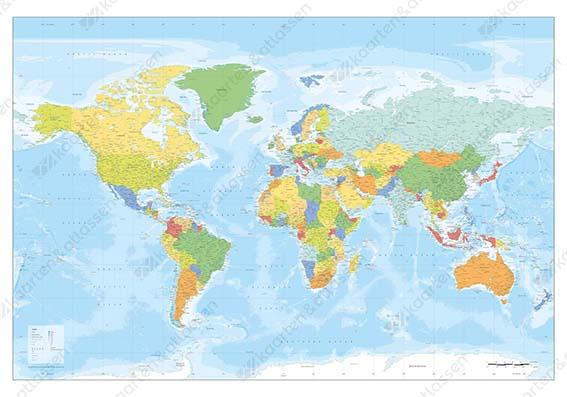 Heldere wereldkaart