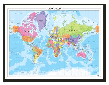 Eenvoudige kleurrijke wereldkaart