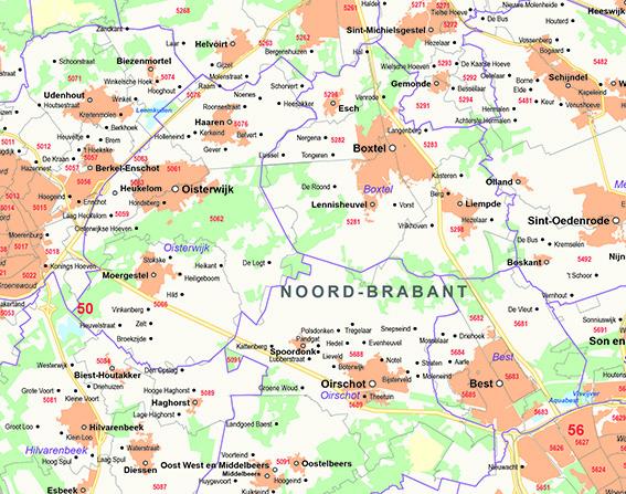 Provincie gemeentekaart Brabant