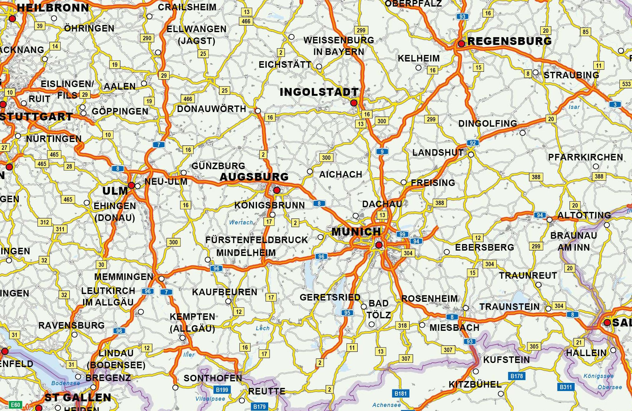 wegenkaart Europa detail