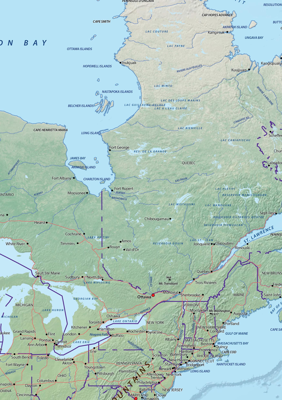 digitale noord amerika natuurkundige kaart 625