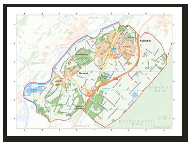 Gemeentekaart Reuver uitgevoerd als digitale kaart