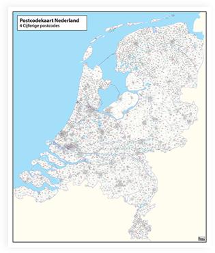 Postcodekaart Nederland 4PPC