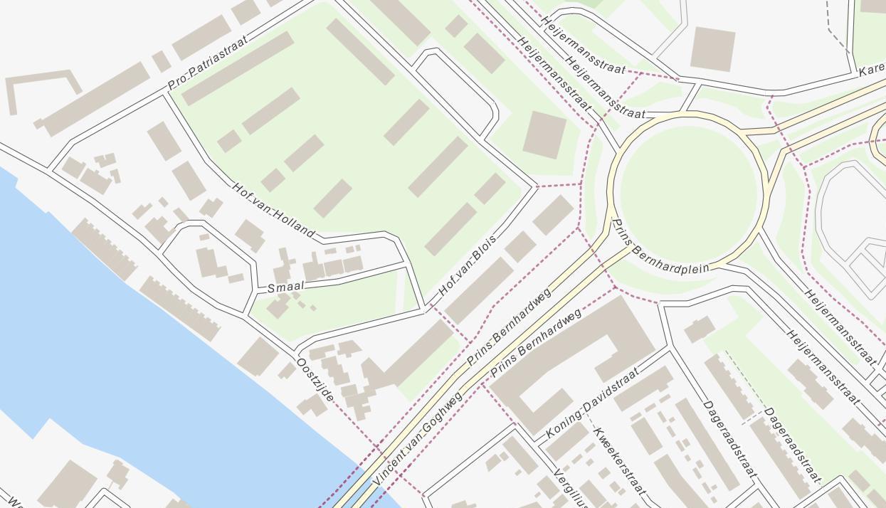Eenvoudige weergave van stratenplan met stedelijke bebouwing