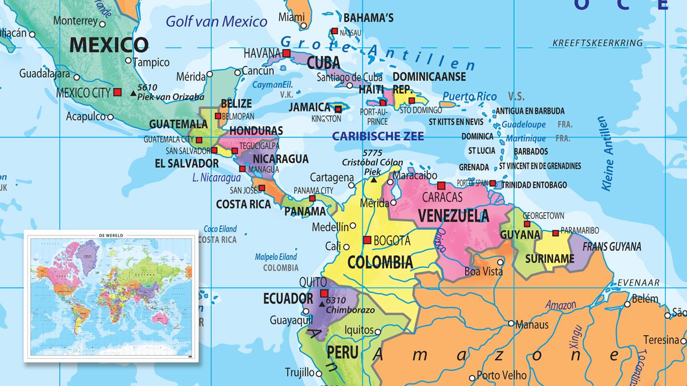 Wereldkaart met vrolijke kleuren
