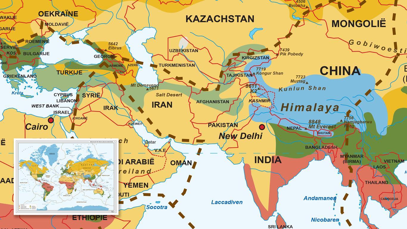 Kaart van de wereld met breuklijnen