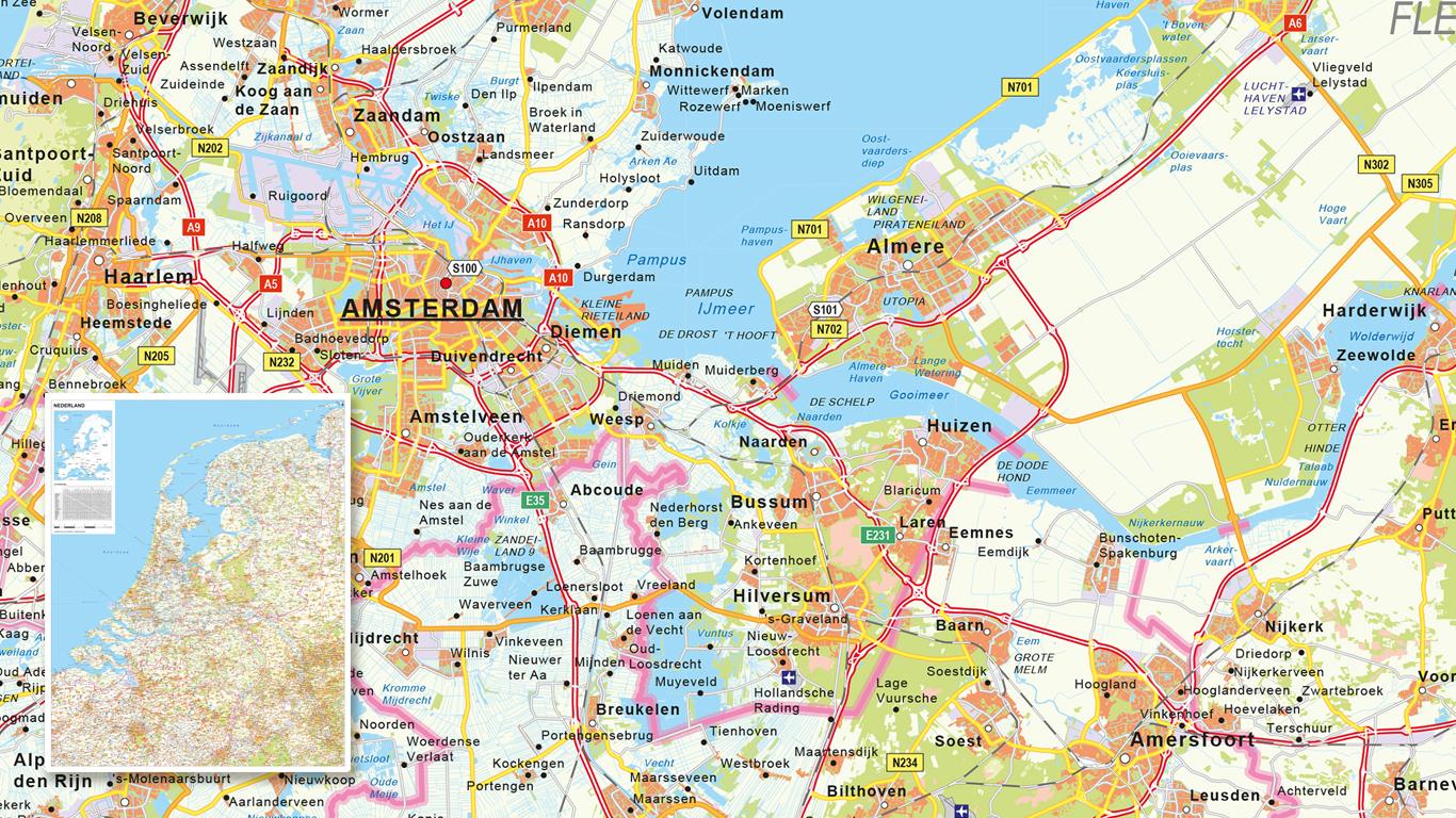Gedetailleerde wegenkaart van Nederland