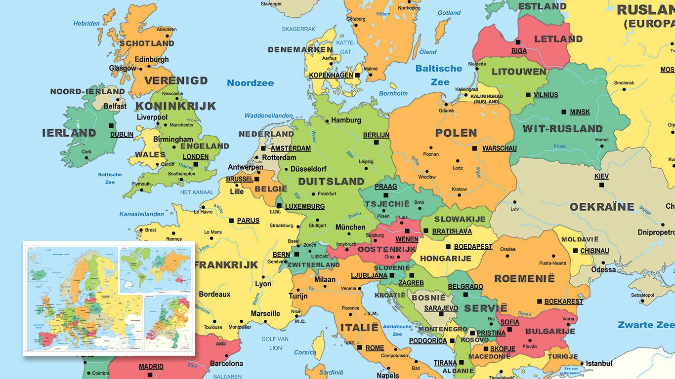 Helder vormgegeven kaart van Europa met warme kleuren