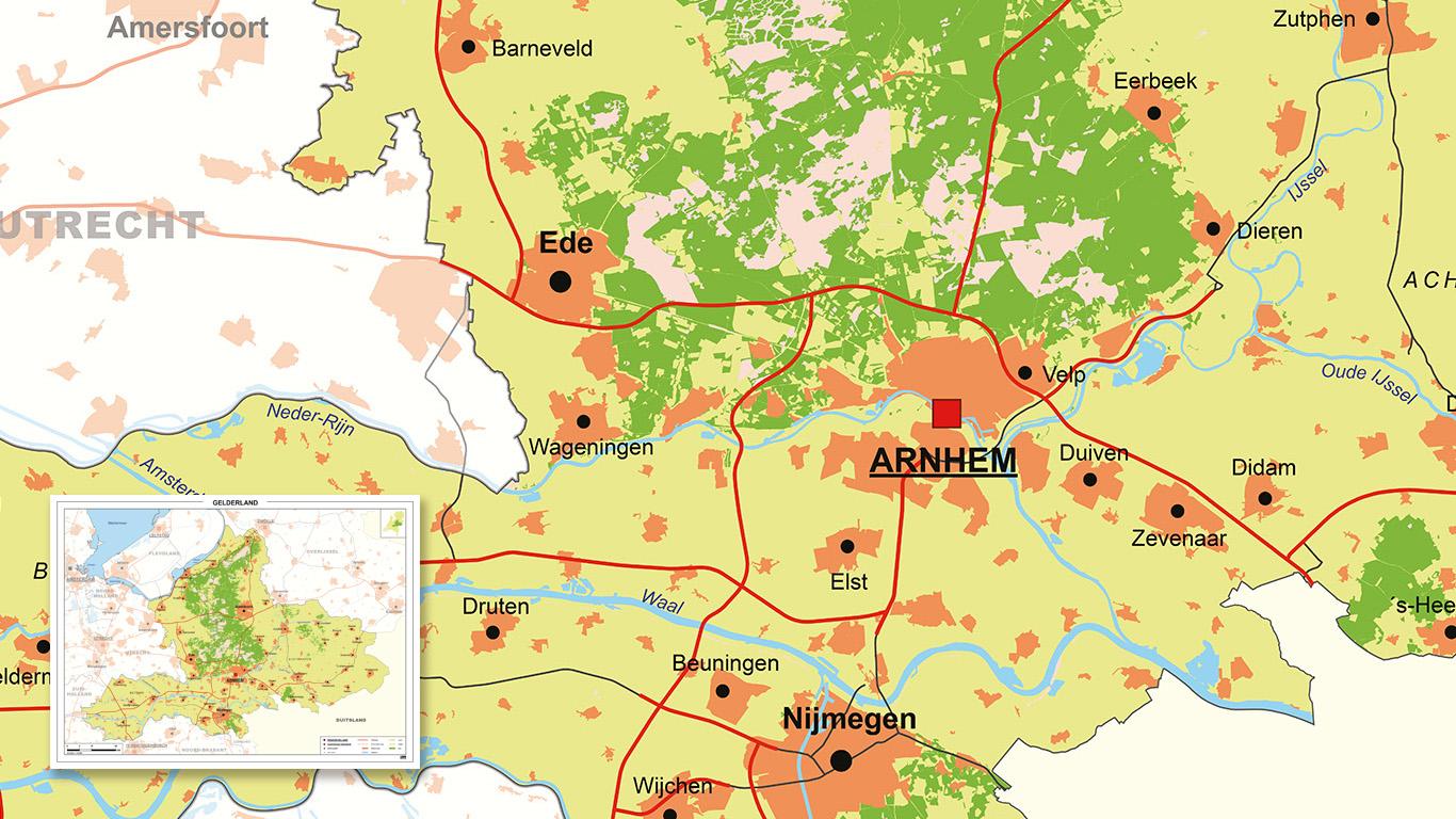 Authentiek uitziende kaart van Gelderland
