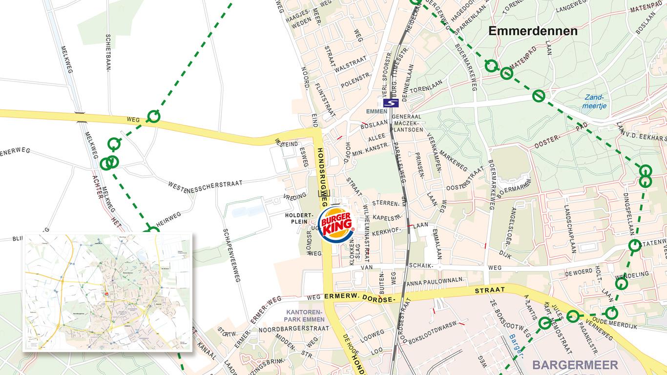 Bezorggebied met postcodes voor Burger King