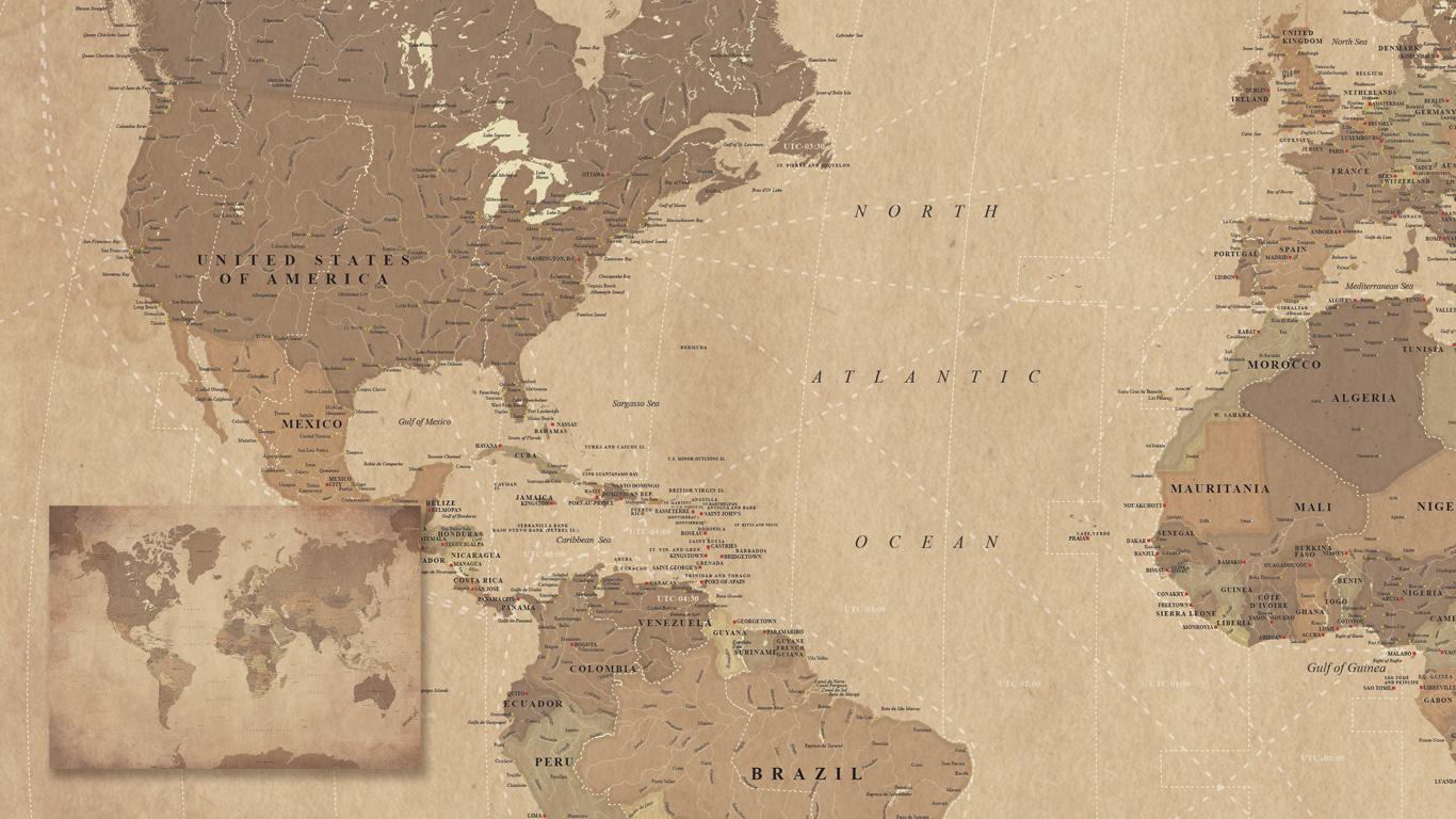 Authentiek uitziende kaart van de Wereld met vaarroutes