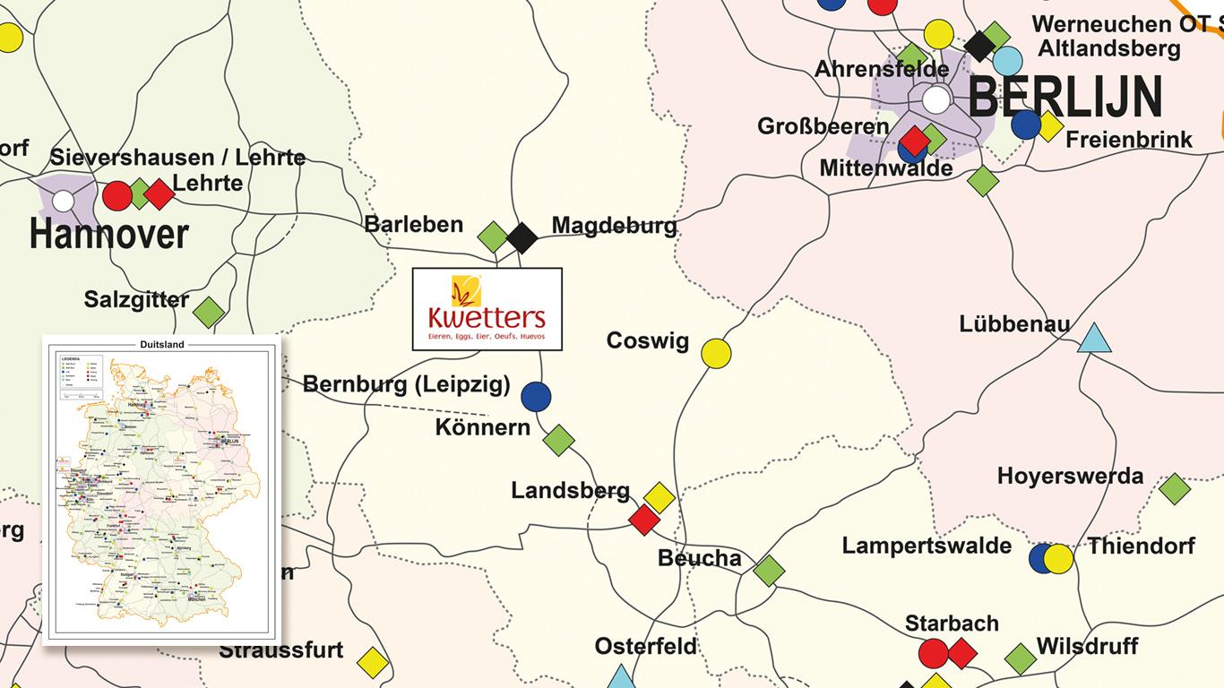 Kwetters Locatiekaart Duitsland