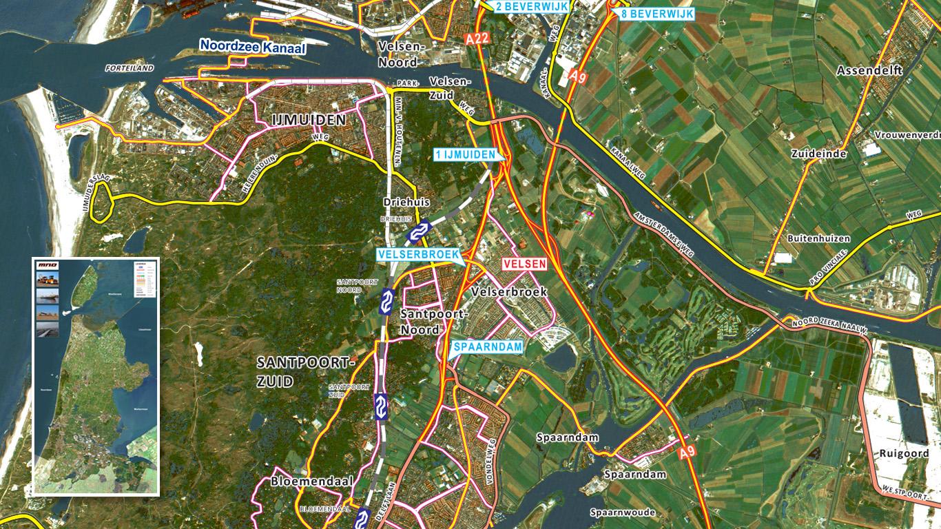 Provincie- satellietkaart Noord-Holland