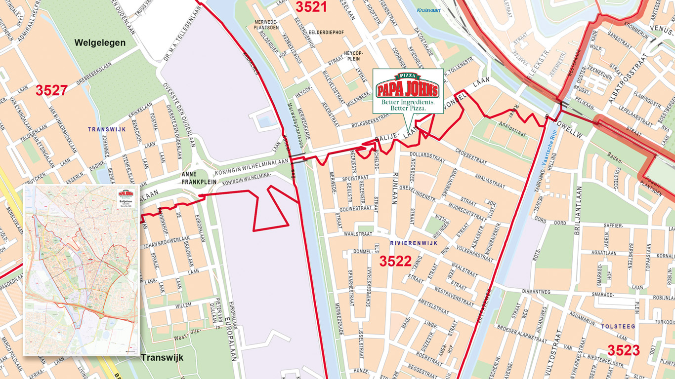 Bezorggebied met postcodes voor Papa Johns