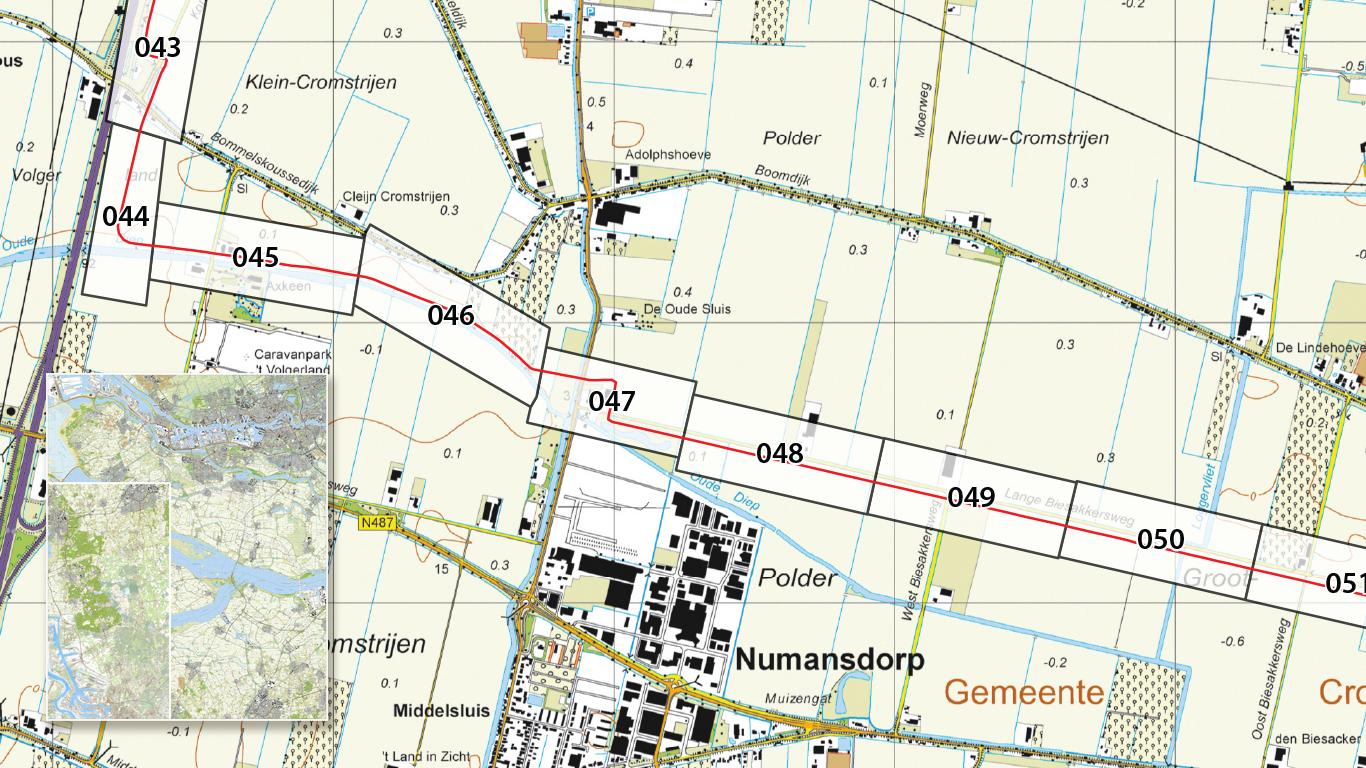 Topografische kaart met ingelegde pijpleiding voor RAPL, België
