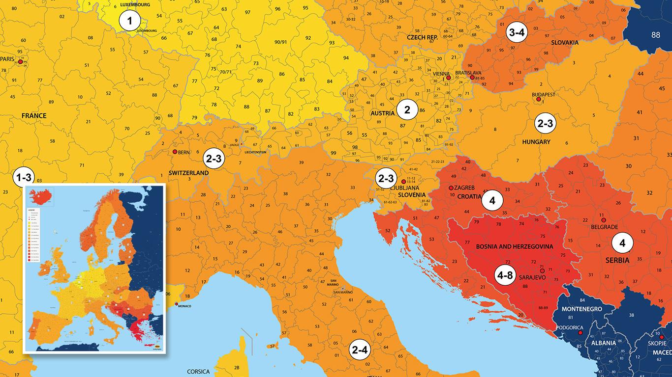 Bezorgkaart Europa voor Rotra