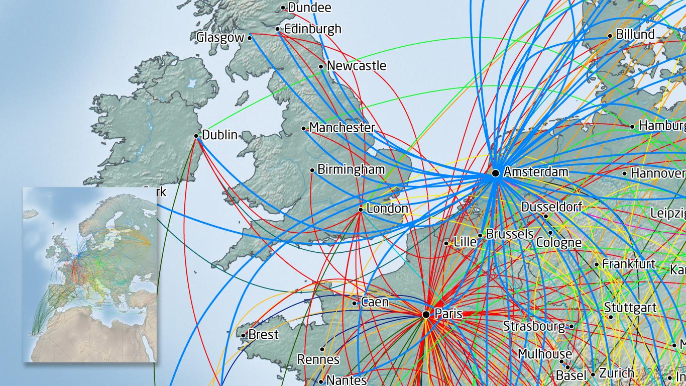 SkyTeam KLM kaart Europa