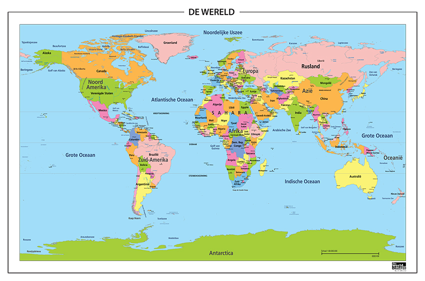 Digitale Wereldkaart Nederlandstalig 310 | Kaarten en Atlassen.nl WERELD KAART
