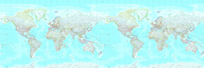 Wereldkaart doorlopend