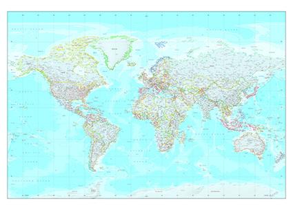 Wereldkaart gekleurde grenzen