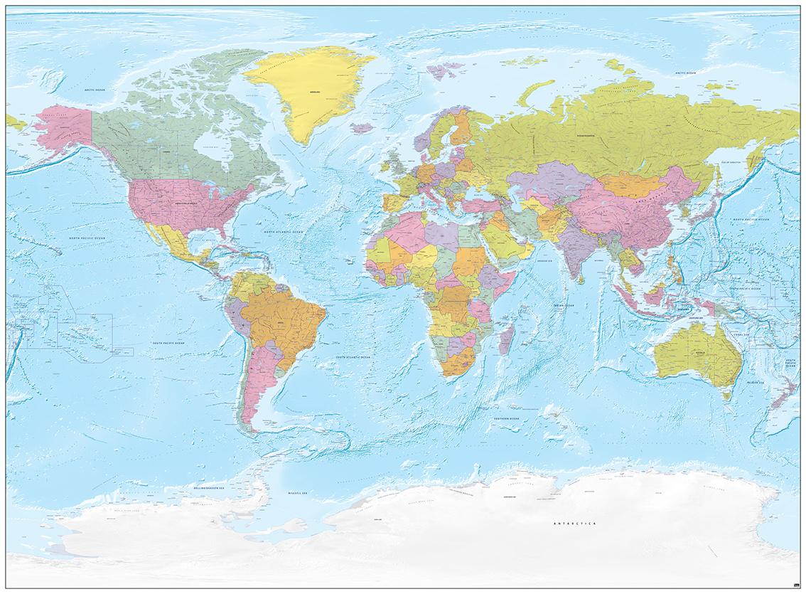 Digitale Wereldkaart Xxl Engels Met Relif 742 Bed