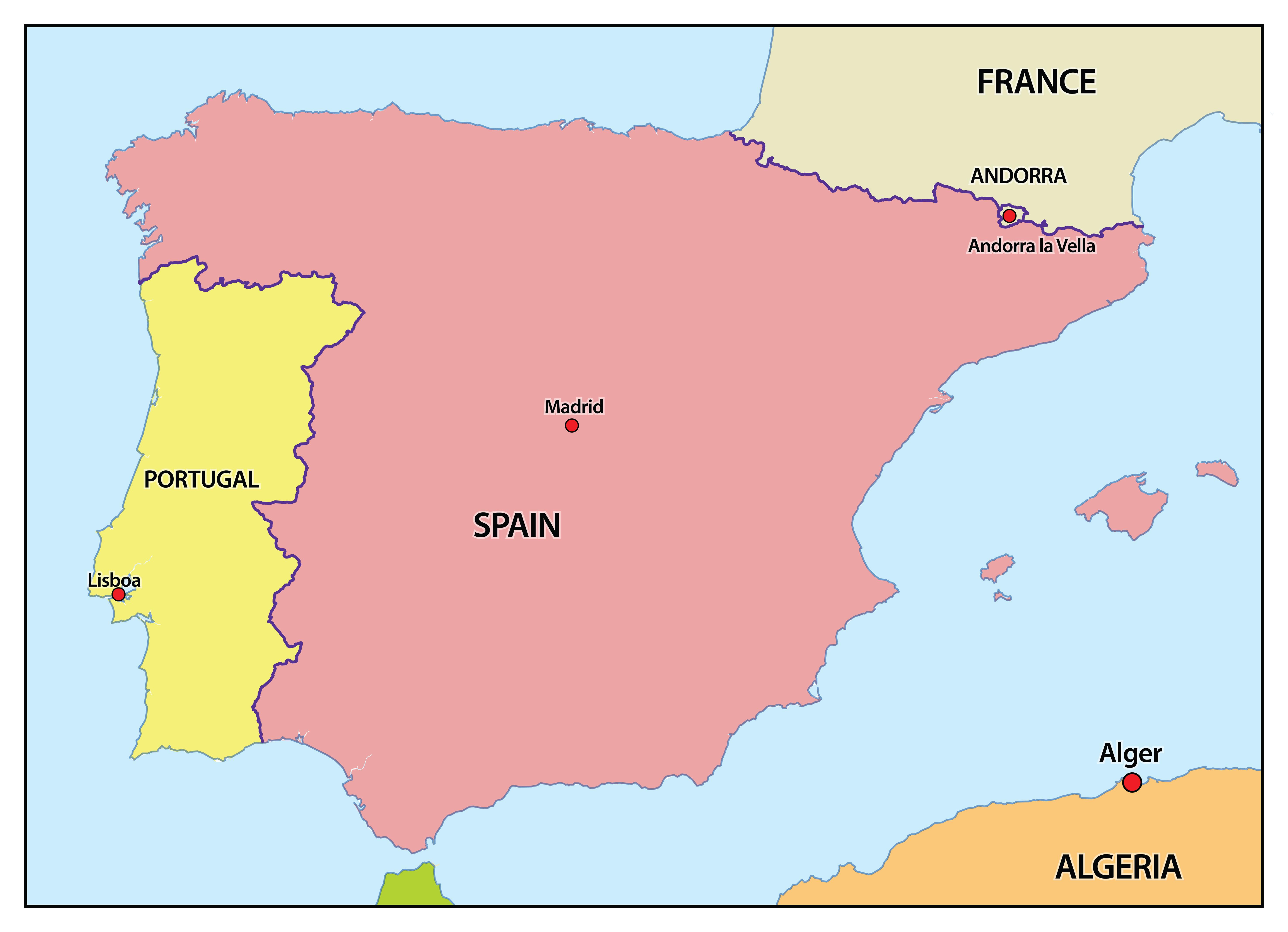 Heloohaloo 41 Mooi Kaart Frankrijk Spanje Portugal