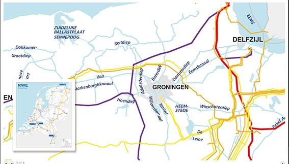 hoogspanningsdraden in nederlandkaart
