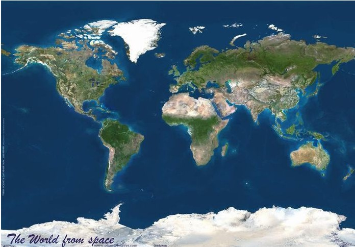 Observer satellietkaart wereld kaarten en - Lamppost huizen van de wereld ...