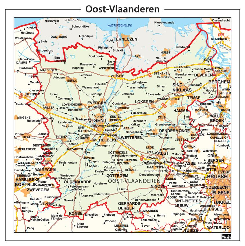 Provinciekaart Oost Vlaanderen 348 Kaarten en Atlassen nl