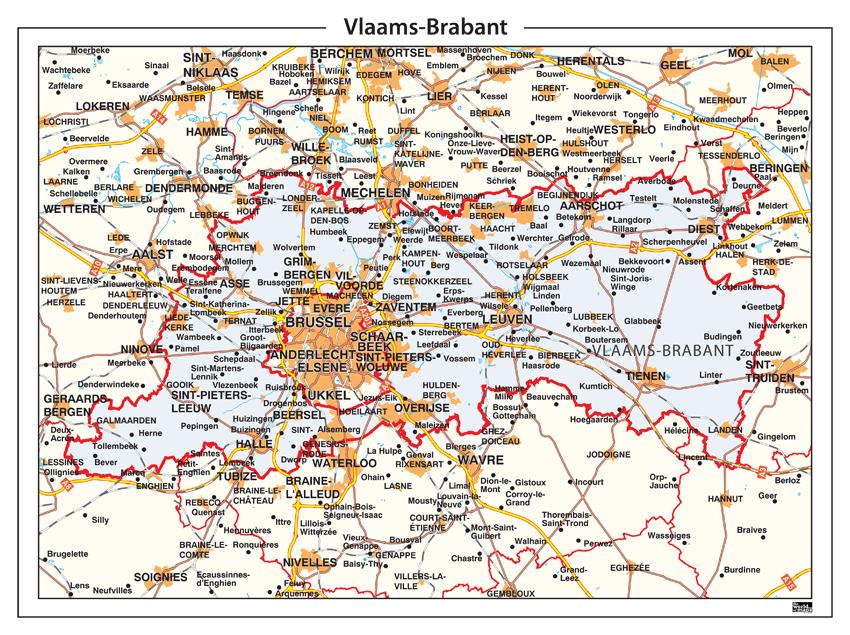 Provinciekaart Vlaams Brabant 351 Kaarten en Atlassen nl
