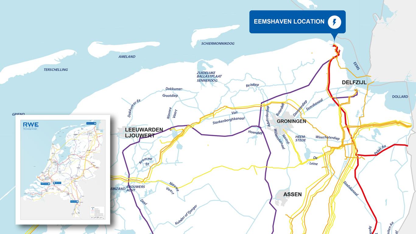 RWE kaart van het leidingnet