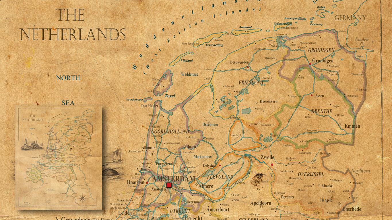 Nostalgische Nederlandkaart op maat gemaakt