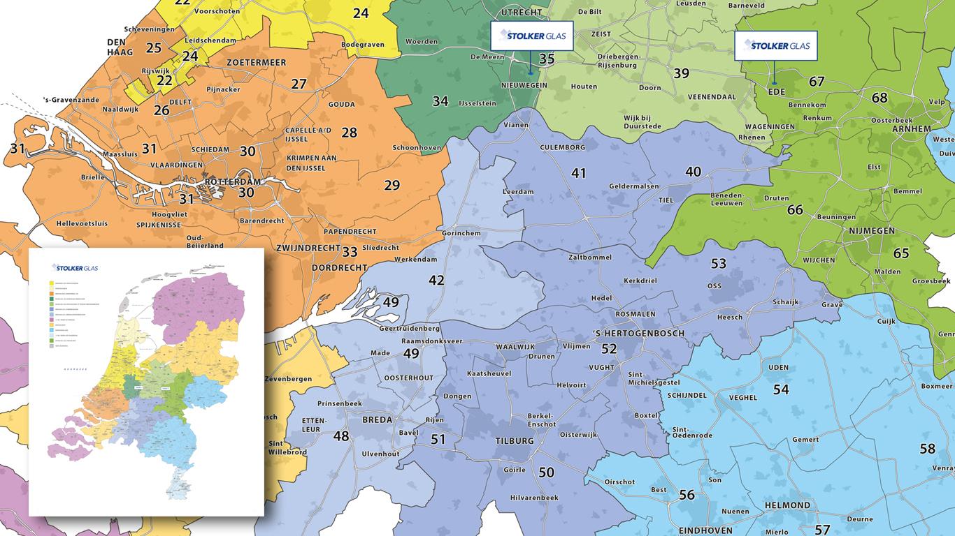regiokaart met rayon indeling