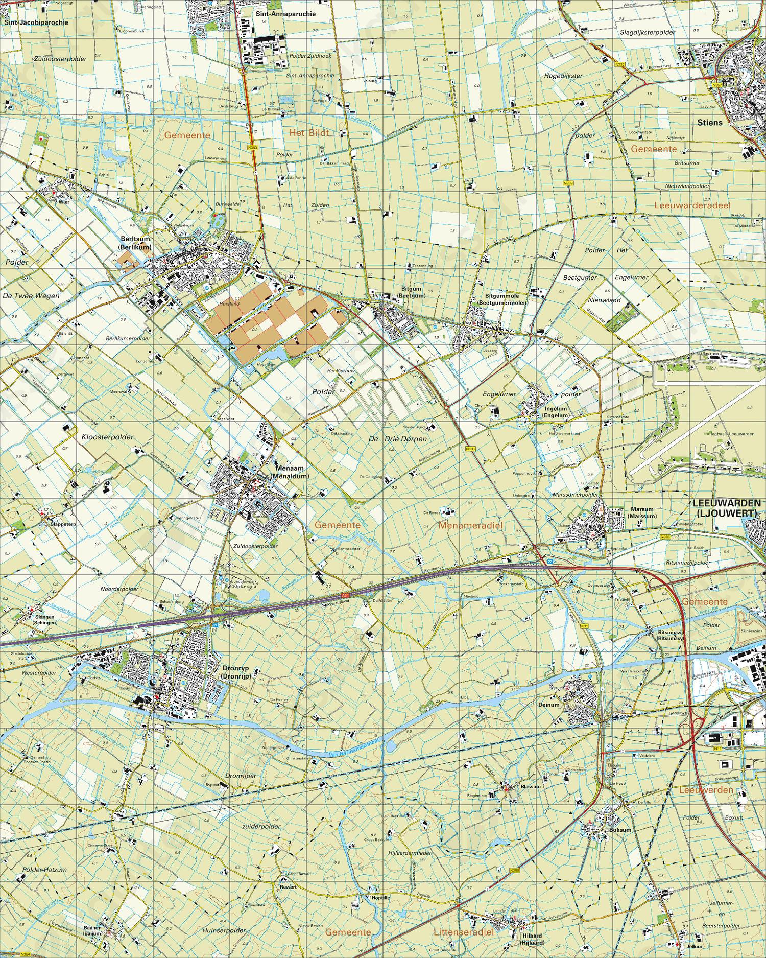 Gevouwen Topografische Kaart 5H Dronrijp