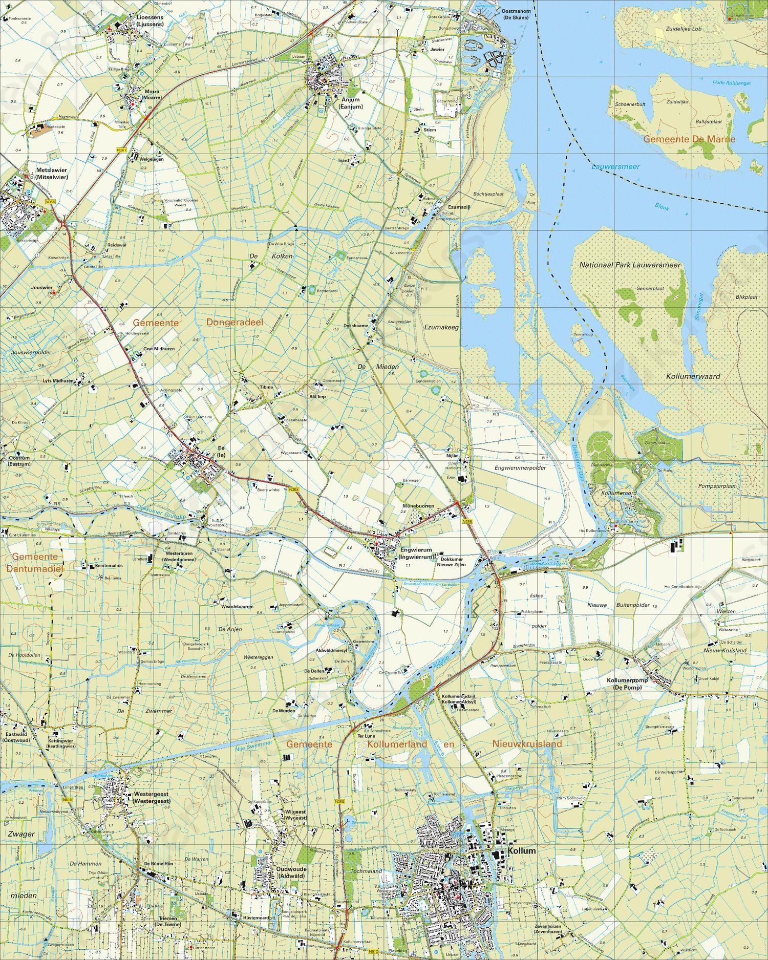 Topografische Kaart 6E Kollum