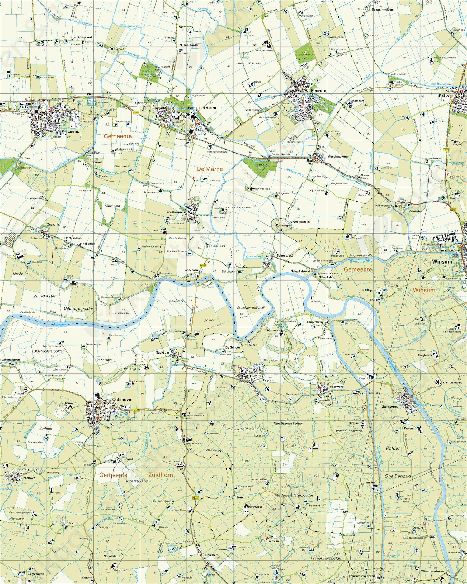 Topografische Kaart 7A Ezinge