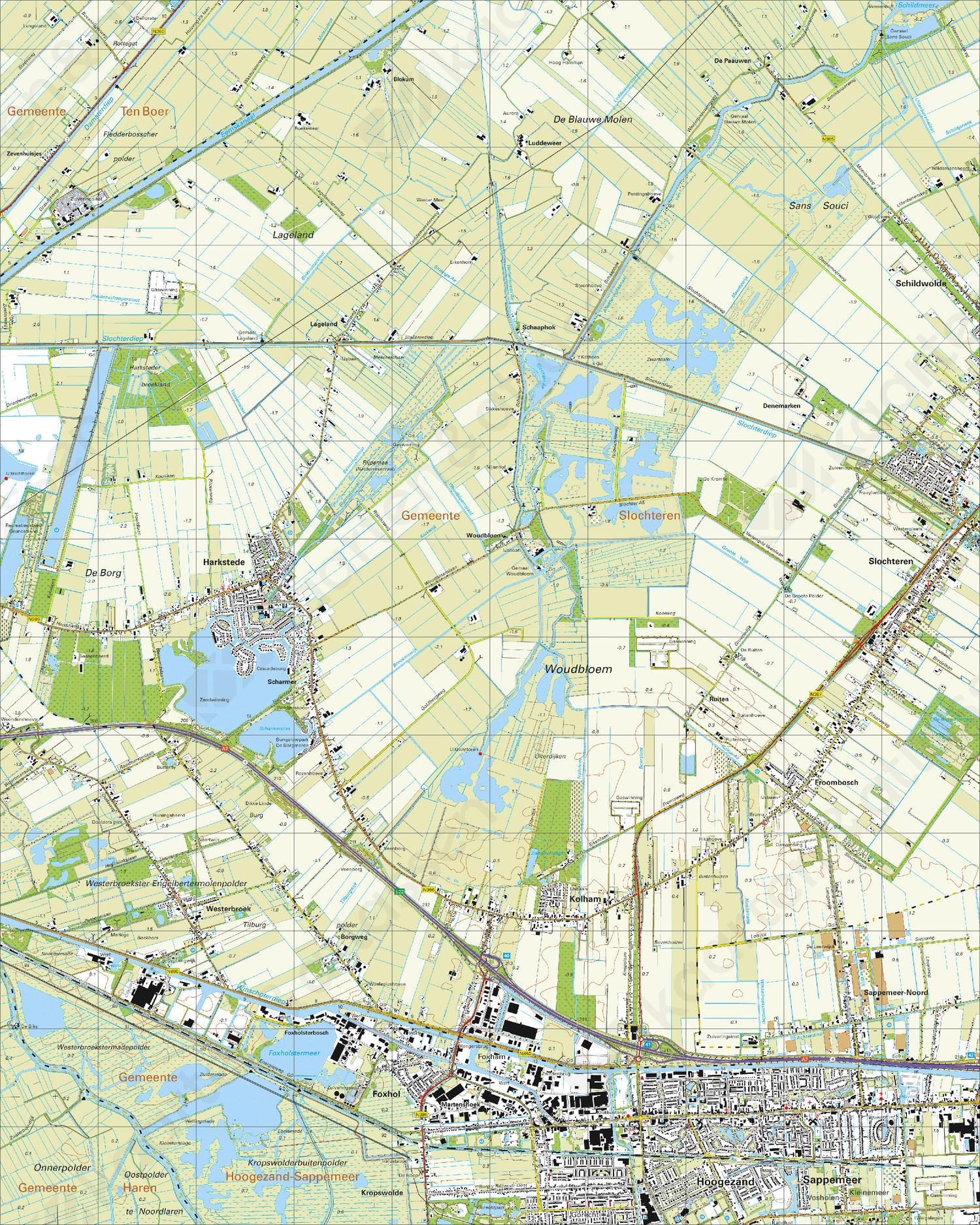 Topografische Kaart 7G Hoogezand   Kaarten en Atlassen.nl