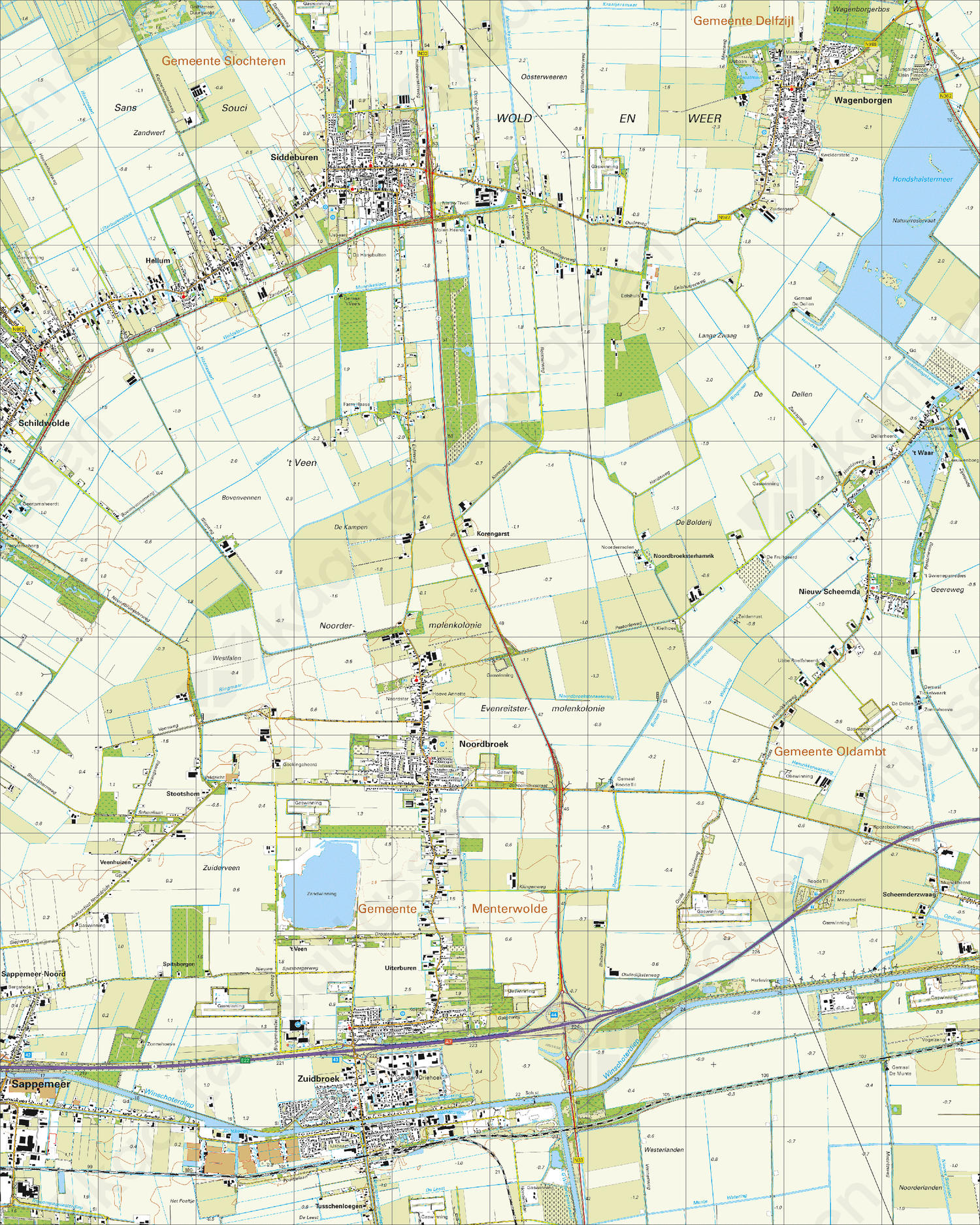 Topografische Kaart 7H Noordbroek