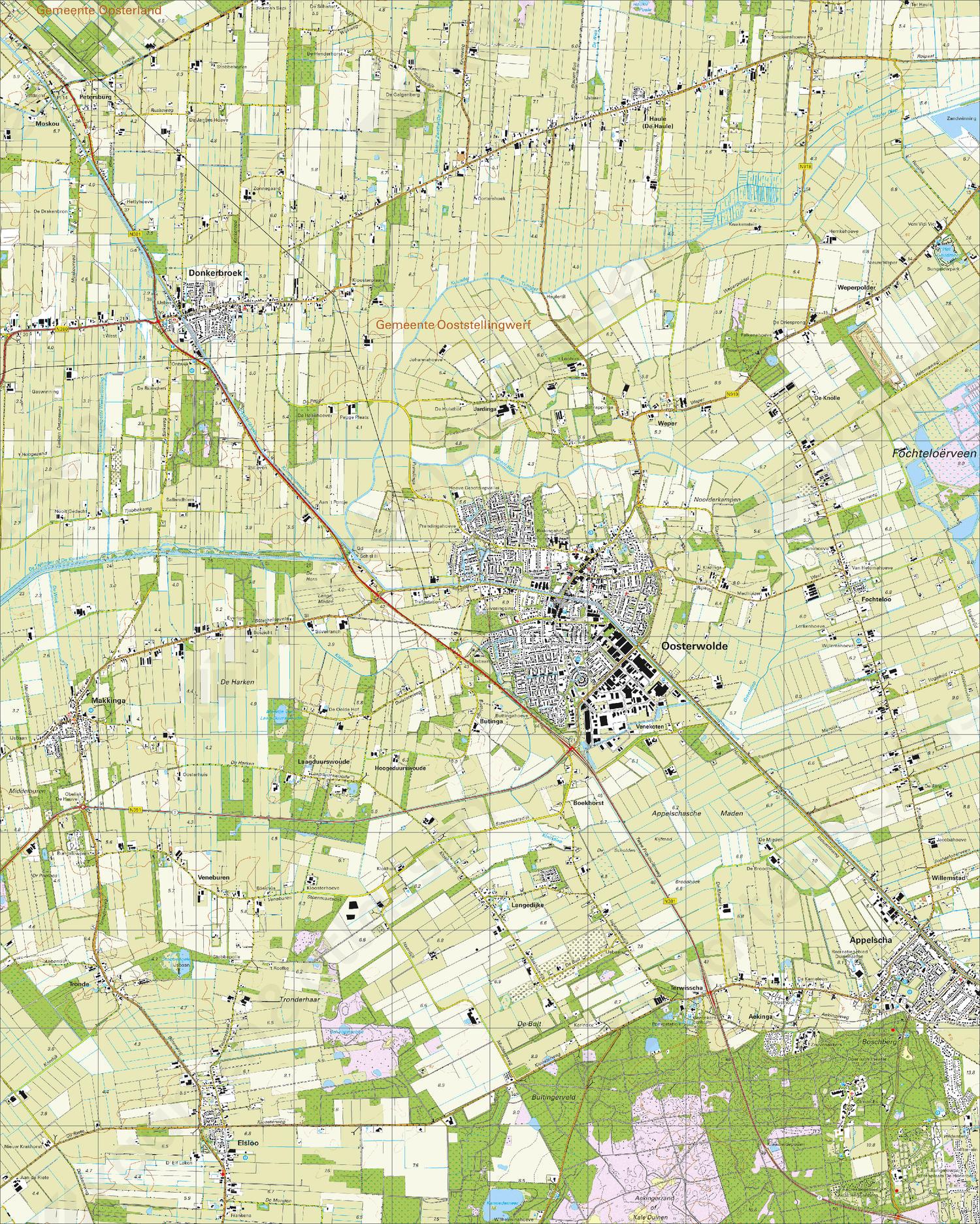 Topografische Kaart 11H Oosterwolde