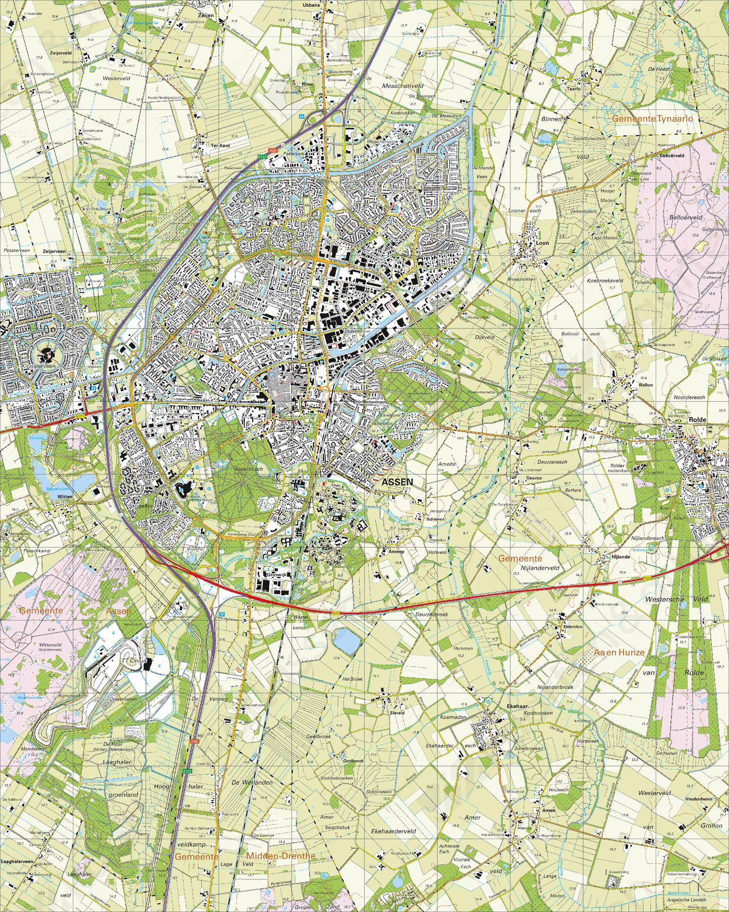 Topografische Kaart 12D Assen