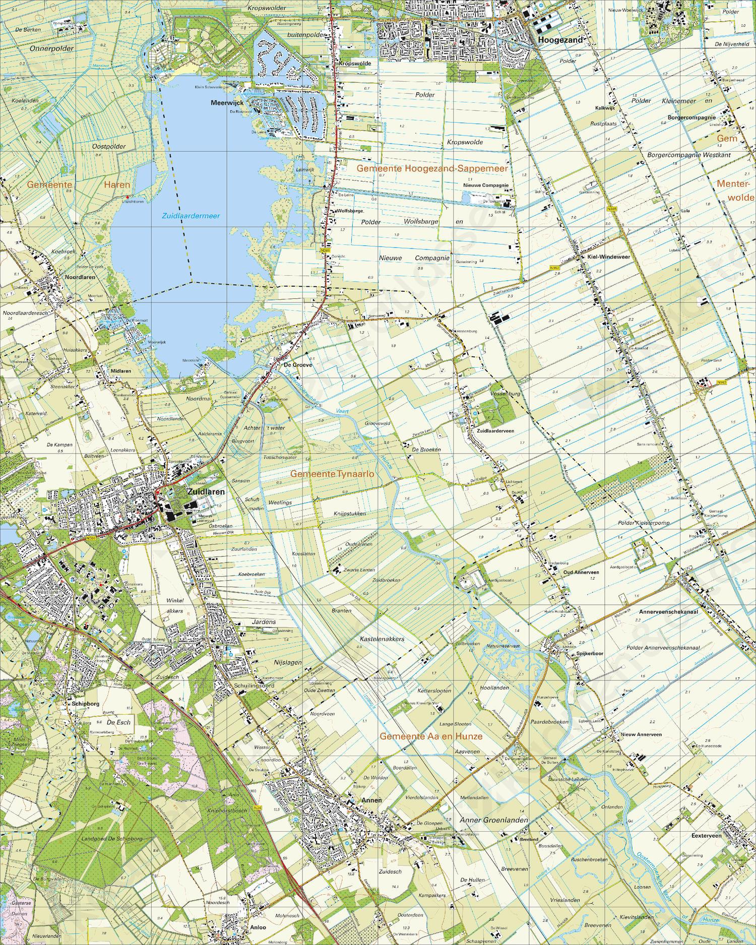 Topografische Kaart 12E Zuidlaren