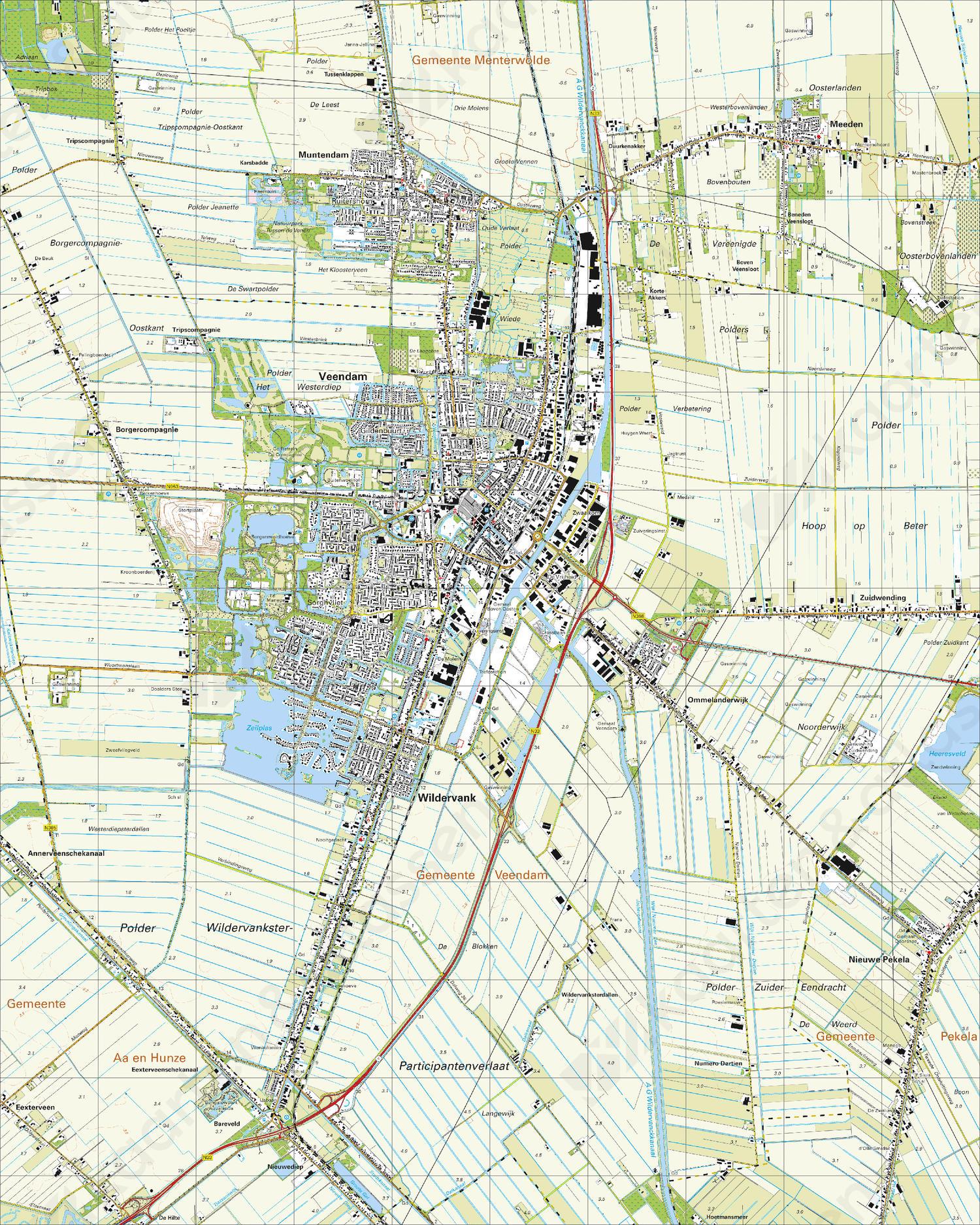 Topografische Kaart 12F Veendam