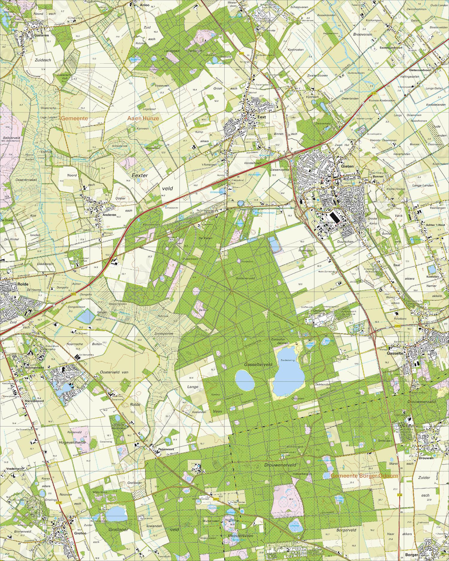 Topografische Kaart 12G Gieten