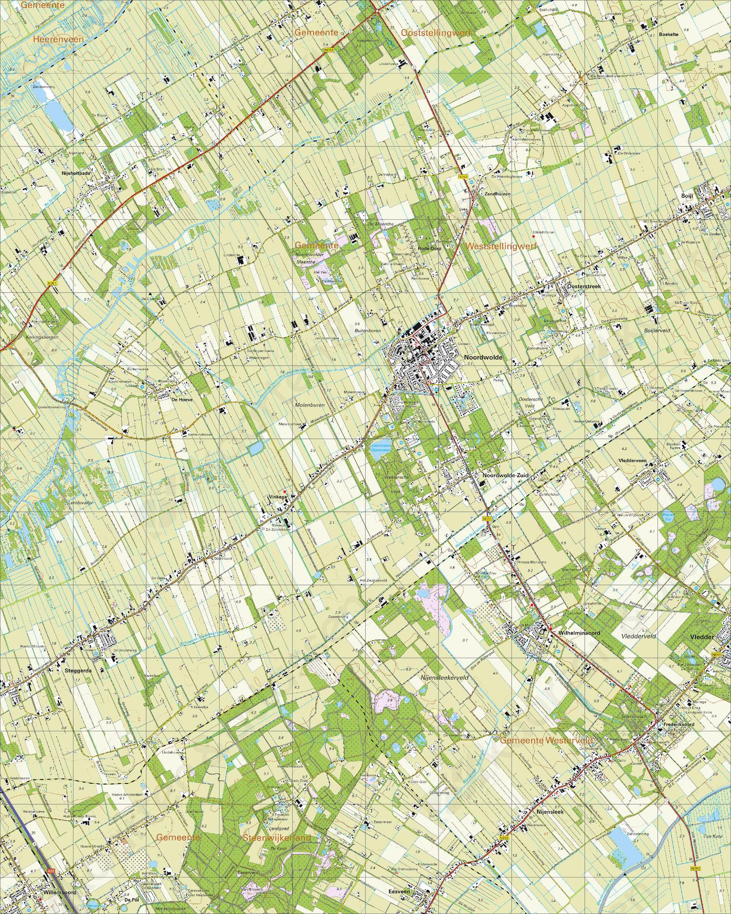 Topografische Kaart 16E Noordwolde